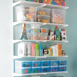 Container Store: White Elfa Kids Activity Shelf
